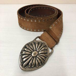 Frank Daniel studded brown leather belt